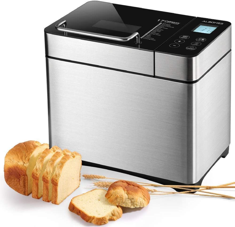 Bread Maker, ALBOHES 2.2LB Stainless Steel Bread Machines with Gluten Free Setting, Automatic Nut Dispenser, 17 Programmable Menu Settings, 3 Loaf ...