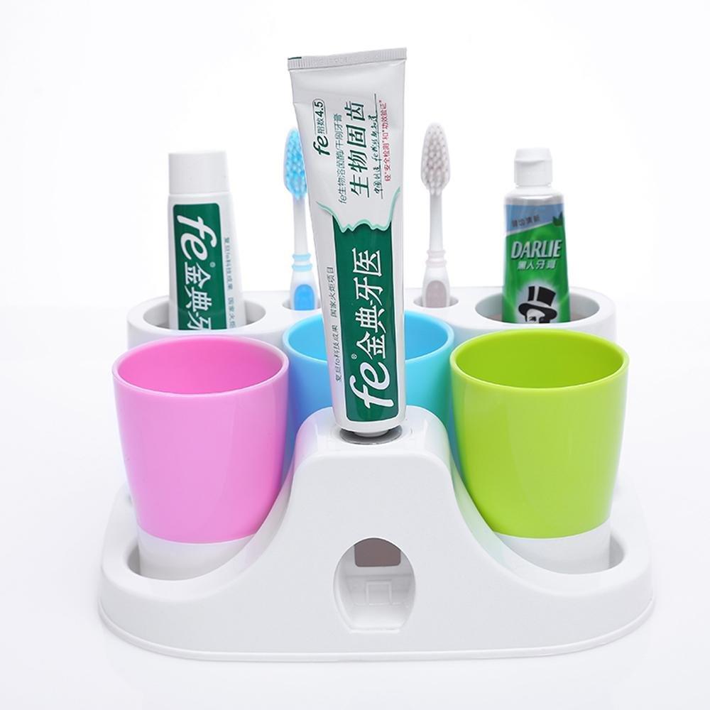 SSBY Ideas de tres baño cepillo de dientes titular fija, lavado de tazón de pasta de dientes sistema, automático Toothbrush holder