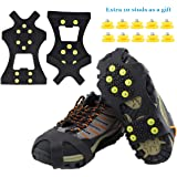 HoFire Ice Cleats, Ice Grips Traction Cleats Grippers Non-Slip Over Shoe/Boot Rubber Spikes Crampons Anti Easy Slip 10 Steel Studs Crampons Slip-on Stretch Footwear