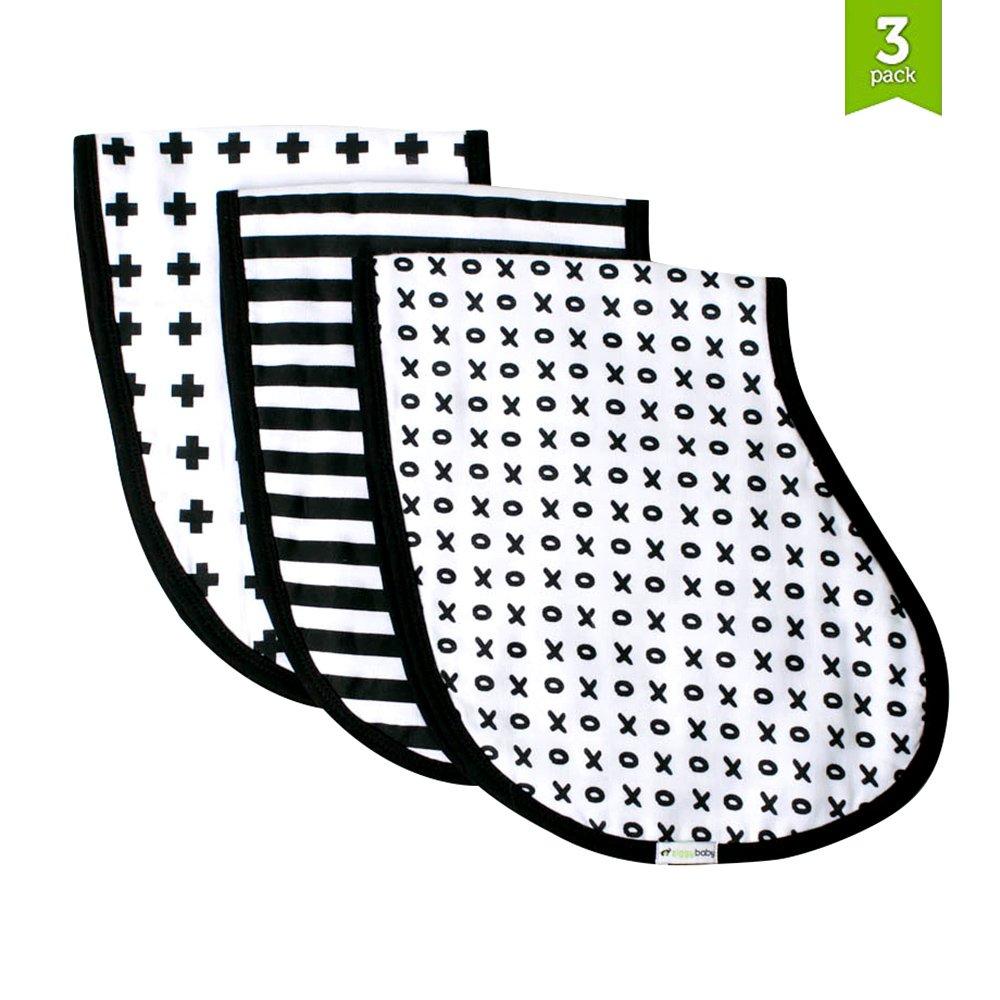 Muslin Burp Cloths, Burp Bib Set (3 Pack) Black + White by Ziggy Baby