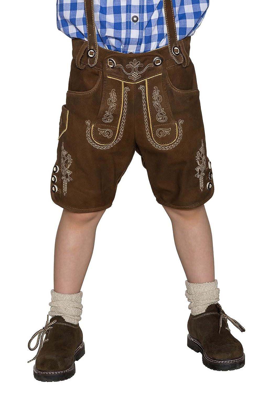 Maddox Jungen Kinderlederhose kurz mit H-Träger braun Ben 140676
