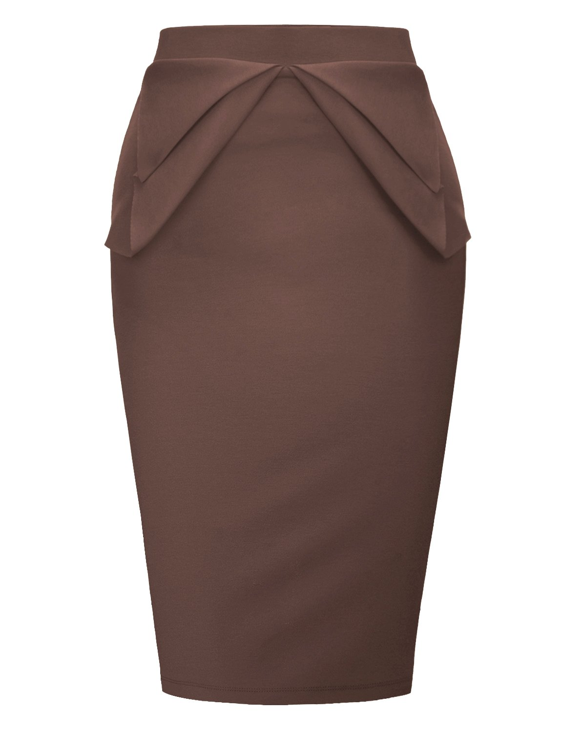 Regna X Womens high Waist Elastic Band Sexy Knee Length Skirts Brown XL by Regna X (Image #1)