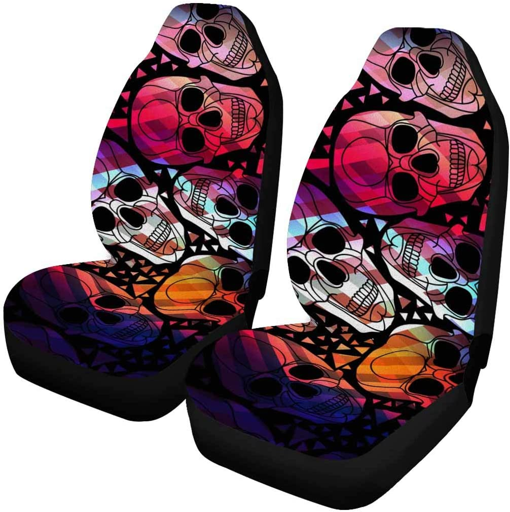 INTERESTPRINT Skull Auto Seat Protector 2 Pack, Entire Seat Protection, Car Front Seat Cushion for Pets Running Gym