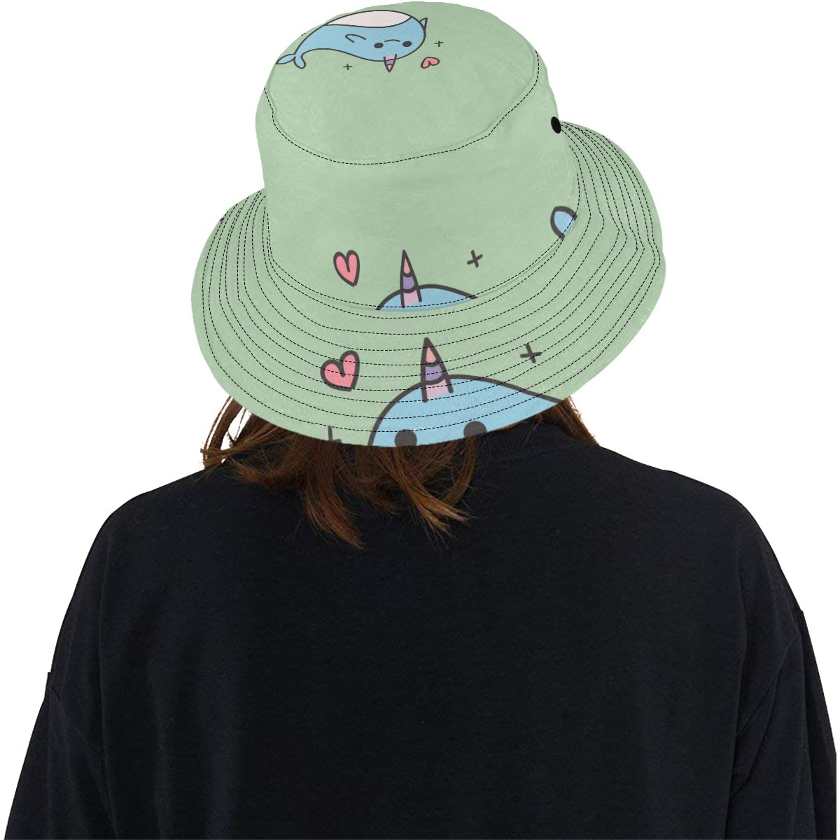Lovely Smart Dolphoin New Summer Unisex Cotton Fashion Fishing Sun Bucket Hats for Kid Teens Women and Men with Customize Top Packable Fisherman Cap for Outdoor Travel