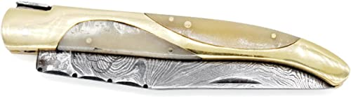 DKC Knives 8 8 18 Sale DKC-773 Titanic Laguiole Damascus Steel Folding Pocket Knife White Bone 4 oz 8.5 Long 3.5 Blade