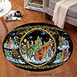 Sophiehome Soft Carpet 313105349 National Christmas celebrations, dances, songs in winter Cheerful holiday in winter of people the Russian art Paleh Anti-skid Carpet Round 24 inches