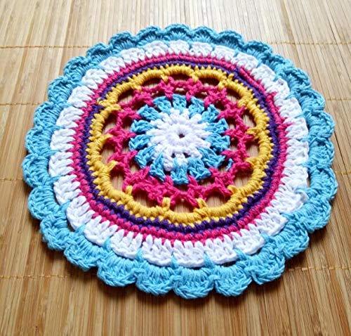 ASLD Salvamanteles Individuales Encaje Algodon Mesa Mantel Crochet Cafe Ronda Mantel Individual Bebida Navidena Vidrio Posavasos Taza Taza Te Comedor Tapete CocinaccRedondo18 Cm