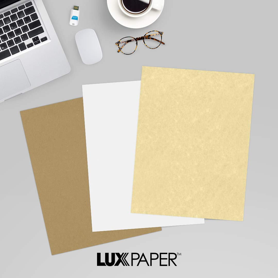 LUXPaper 8.5'' x 11'' Paper for Crafts and Printing in Gold Parchment, Scrapbook and Office Supplies, 250 pack (Gold) by Envelopes Store
