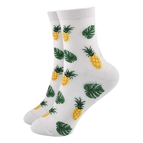 FHCGWZ 5pcs / Set Mujer Frutas Calcetines Limón Aguacate Piña Cereza Arándano Naranja Gardenias Plátano Plumerias