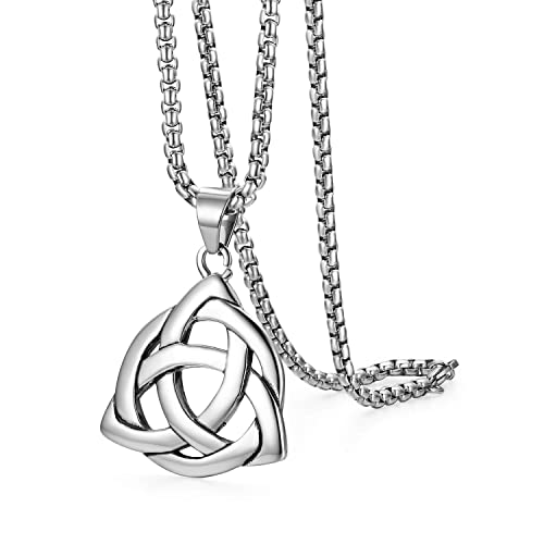 340a14a62412 Flongo Herren-Kette Männer Anhänger, Edelstahl Silber Keltischer Knoten  Irischer Triquetra Glücklicher Liebe-