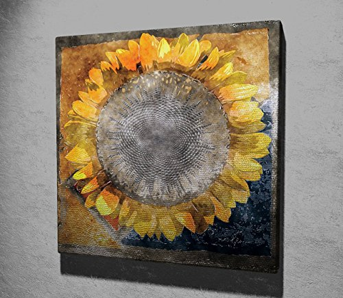 Nature Canvas Wall Art, Sunflower with Harmony of Colors, Seed - Wooden Thick Frame Painting, Total Size (17.5