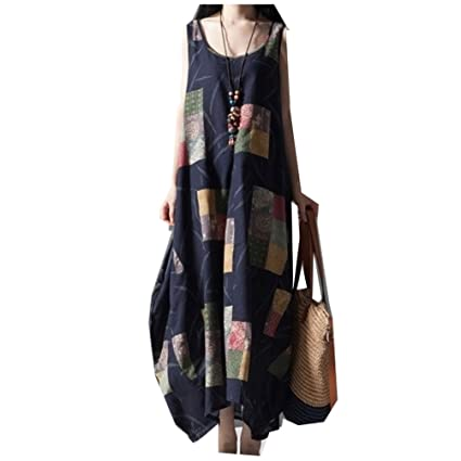 Cotton Linen Vintage Print Plus Size Desigual Women Loose Dress Vestidos(Size XL)