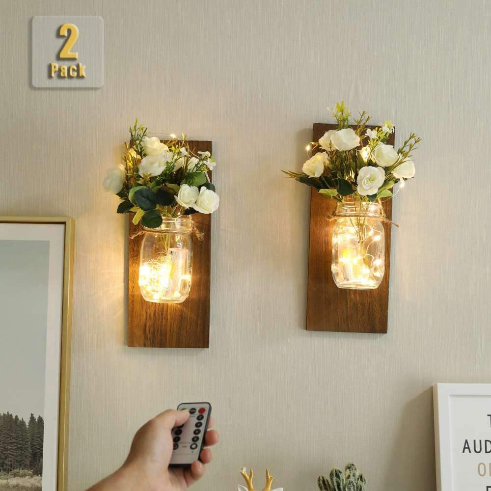 Mason Jar Sconces, Home Decoration, Rustic Wall Sconces, LED Fairy Lights, Rose Fake Plant, Interior Decoration Warm Toned Lighting.(2 Pack) (Rose)