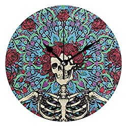 Dozili Grateful Dead Skull Round Wall Clock Arabic Numerals Design Non Ticking Wall Clock Large for Bedrooms,Living Room,Bathroom