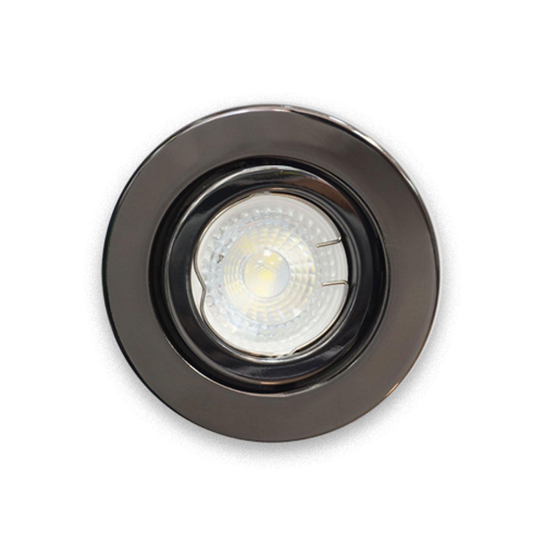 10 X Large Housing Tiltable Recessed GU10 Downlights Spotlight Lights Ceiling Spotlights Interior Lights White Satin Chrome Black Chrome (Black Chrome) [Energy Class A+] UKEW