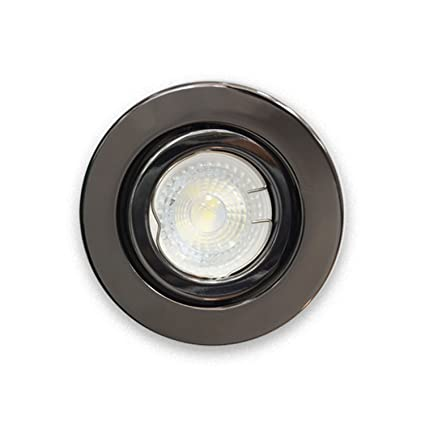 aa66ed9e2610 UKEW 10 X Large Housing Tiltable Recessed GU10 Downlights Spotlight Lights  Ceiling Spotlights Interior Lights White Satin Chrome Black Chrome (Black  Chrome) ...