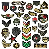 24pcs soldier badges random styles embroidered fabric Iron-on or Sew-on cartoon sticker patches (Mixed colors Set 24)