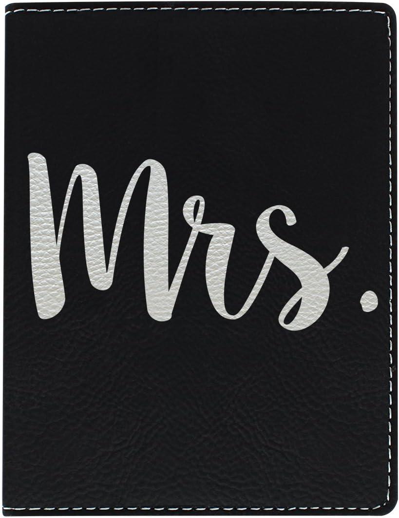 Cute Passport Holder for Women Mrs Newlywed Passport Holder Honeymoon Gifts for Bride Cruise Gifts Laser Engraved Leatherette Passport Holder Black