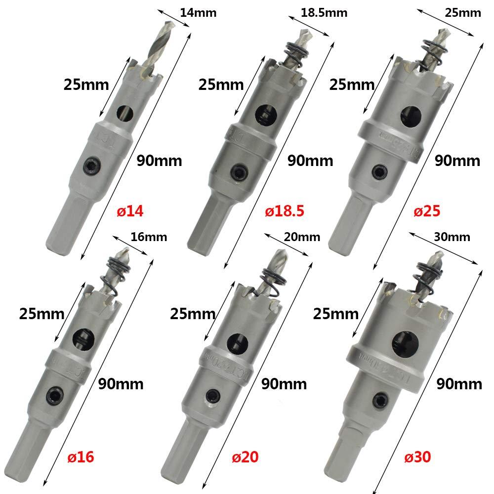 apto para madera de losa de acero inoxidable dise/ño de resorte de aleaci/ón de plata HZ-6S TCT Juego de 6 cortadores de agujeros de acero inoxidable de alta velocidad