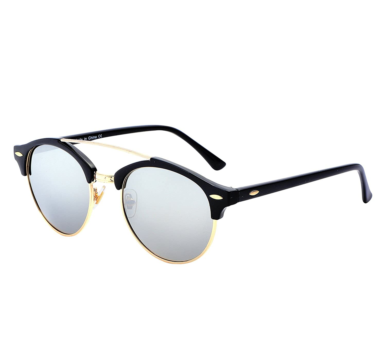 32b4a6417a Amazon.com  YANQIUYU Classic Retro 50 s Semi Rimless 3016 Round Polarized  Clubmaster Sunglasses with Metal Rivets (Silver Gold Rimmed