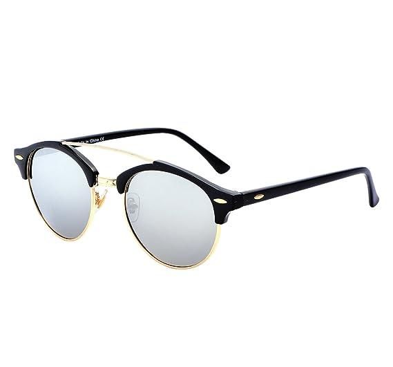 f00c1f6f23da Amazon.com  YANQIUYU Classic Retro 50 s Semi Rimless 3016 Round Polarized Clubmaster  Sunglasses with Metal Rivets (Silver Gold Rimmed