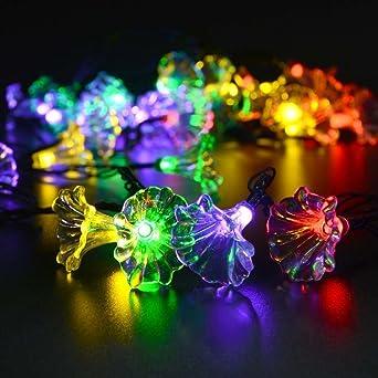 Solarlampen Blumen Schnur Lichter Außen,KINGCOO Wasserdicht 15.7ft/4.8m 20  LED Morgenglorie