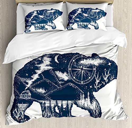 Compass Quilt (Cabin Decor Queen Size Duvet Cover Set by Ambesonne, Bear Double Exposure Tattoo Art Image Great Outdoors Mountains Compass, Decorative 3 Piece Bedding Set with 2 Pillow Shams, Dark Blue White)