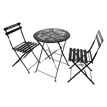THE HOME DECO FACTORY Lot de 2 Chaises avec Table de Jardin, Métal ...