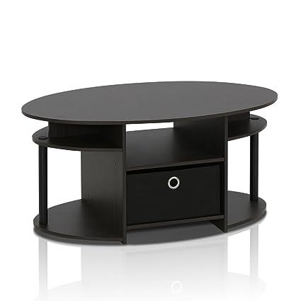 Superb FURINNO 15079WNBK Jaya Simple Design Oval Coffee Table With Bin, Walnut