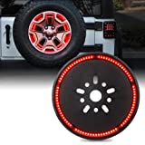 """Xprite 14"""" Inch Red Spare Tire Brake Light for Jeep Wrangler JK 2007-2018, Third LED Rear Wheel Lights Third Tail Lamp"""