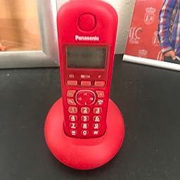 Panasonic KX-TGB210 - Teléfono fijo inalámbrico (LCD, identificador de llamadas, agenda de 50 números, tecla de navegación, alarma, reloj), Rojo, TGB21 Solo: Amazon.es: Electrónica