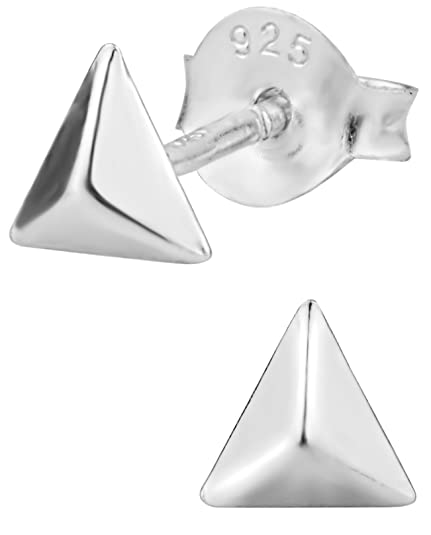 adbcbfadd Image Unavailable. Image not available for. Color: Hypoallergenic Sterling  Silver Geometric Triangle Stud Earrings ...