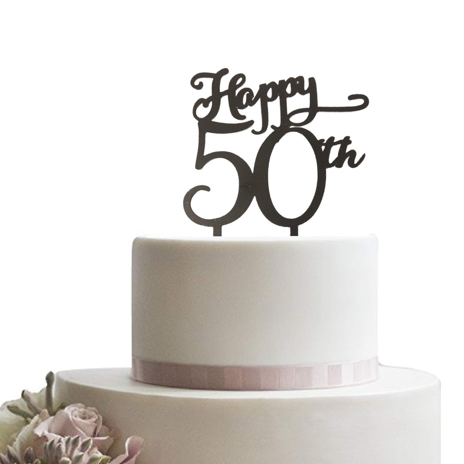 Happy 50th Black Cake Topper Wedding Birthday Anniversary Party Cupcake 50 Years Old Decoration Amazon Grocery Gourmet Food