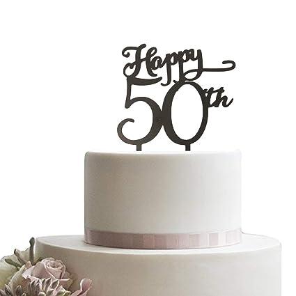 Happy 50th - Decoración para tarta de 50 años, color negro ...