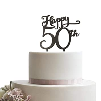 Happy 50th Black Cake Topper Wedding Birthday Anniversary Party Cupcake 50 Years
