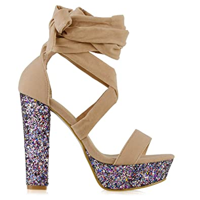 0b1bc868df4 ESSEX GLAM Womens Lace Up Glitter Heel Platform Nude Faux Suede Tie Up  Sandals 5 B