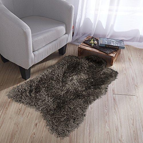 Ottomanson Flokati Collection Faux Sheepskin Lambskin Design Shag Rug, 2'X3', Dark Grey - Flair Cotton Rug