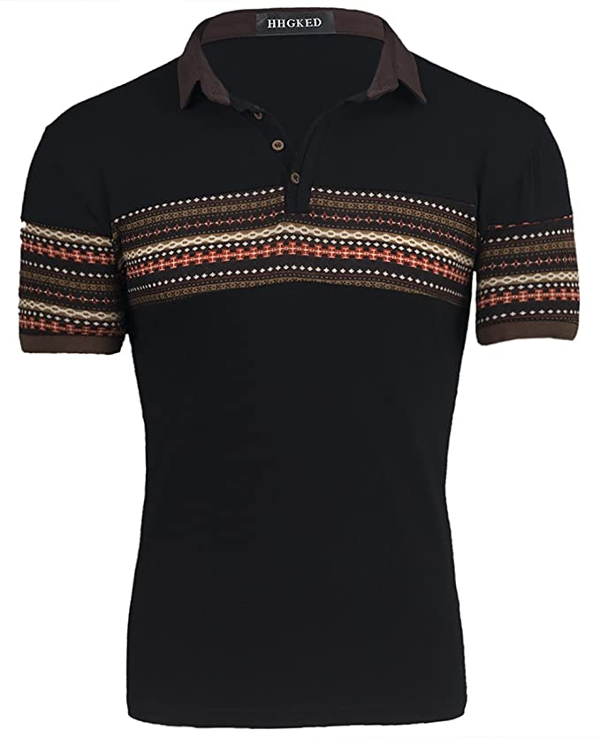 1960s Men's Clothing, 70s Men's Fashion Mens retro print polo short sleeve t-shirts $12.99 AT vintagedancer.com