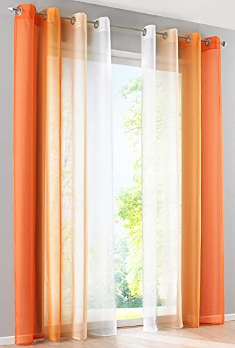 LivebyCare 1 Pair Ombre Sheer Window Curtain Panel Drapery Treatment Grommet Top Voil Drape Room Divider Partition Decorative Vanlance Pelmet for Dinning Room Decorative
