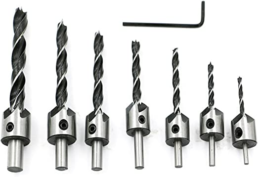 5 Size Countersink Drill Bit Set Screw Woodworking Chamfer Tools Quick Change