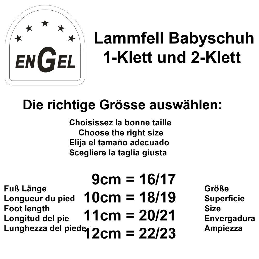 1-Klett Engel Babyschuhe aus Lammfell mit Klettverschluss