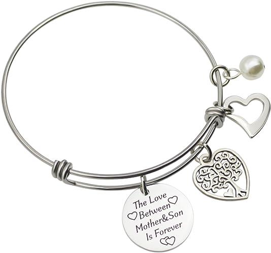 lauhonmin Bracelet Bangle Love Heart Round Mother and Son Charm Pendant