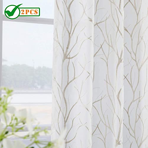 Twin Six Embroidered Curtains Tree Branch Design Curtains Faux Linen Drapes Rod Pocket with 7 Back Loops for Bedroom Living Room Ivory White Tan, 52 x 108,2 Panels