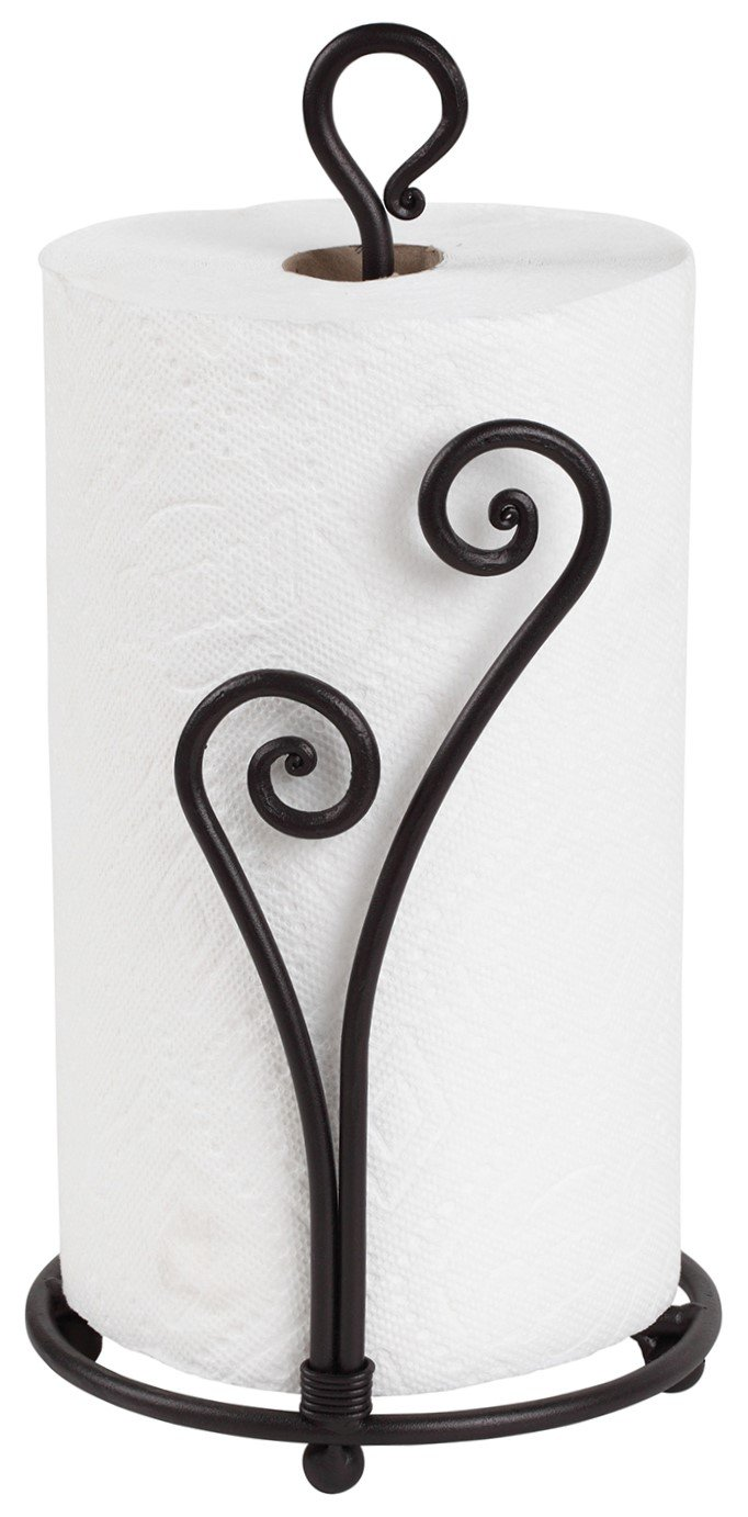 Decorative Heart Shaped Paper Towel Holder Stand | Black Stylish Wrought Iron | Fancy Rod Metal Countertop Stand Up Holder | Unique & Comfy | Easy One-Handed Tear | Handmade Crafted By RTZEN-Décor by RTZEN