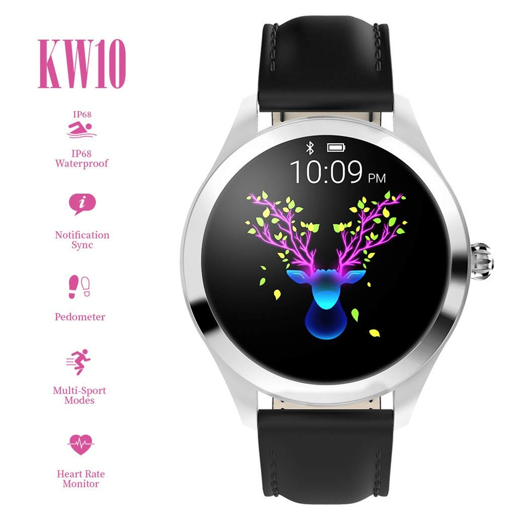 YNAA KW10 IP68 Waterproof Heart Rate Monitoring Bracelet Fitness Smart Watch for Android iOS (Black) by YNAA (Image #5)