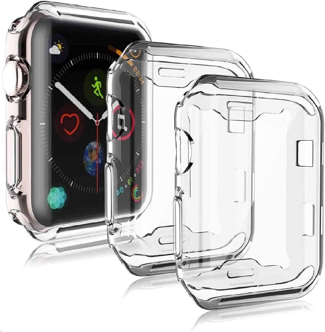 Axiay Apple Watch SE/Series 6/Series 5/Series 4 40mm Screen Protector,Soft Case Ultra-Thin Cover iwatch Clear Accessories Shockproof Full Body Protective(2PCS)
