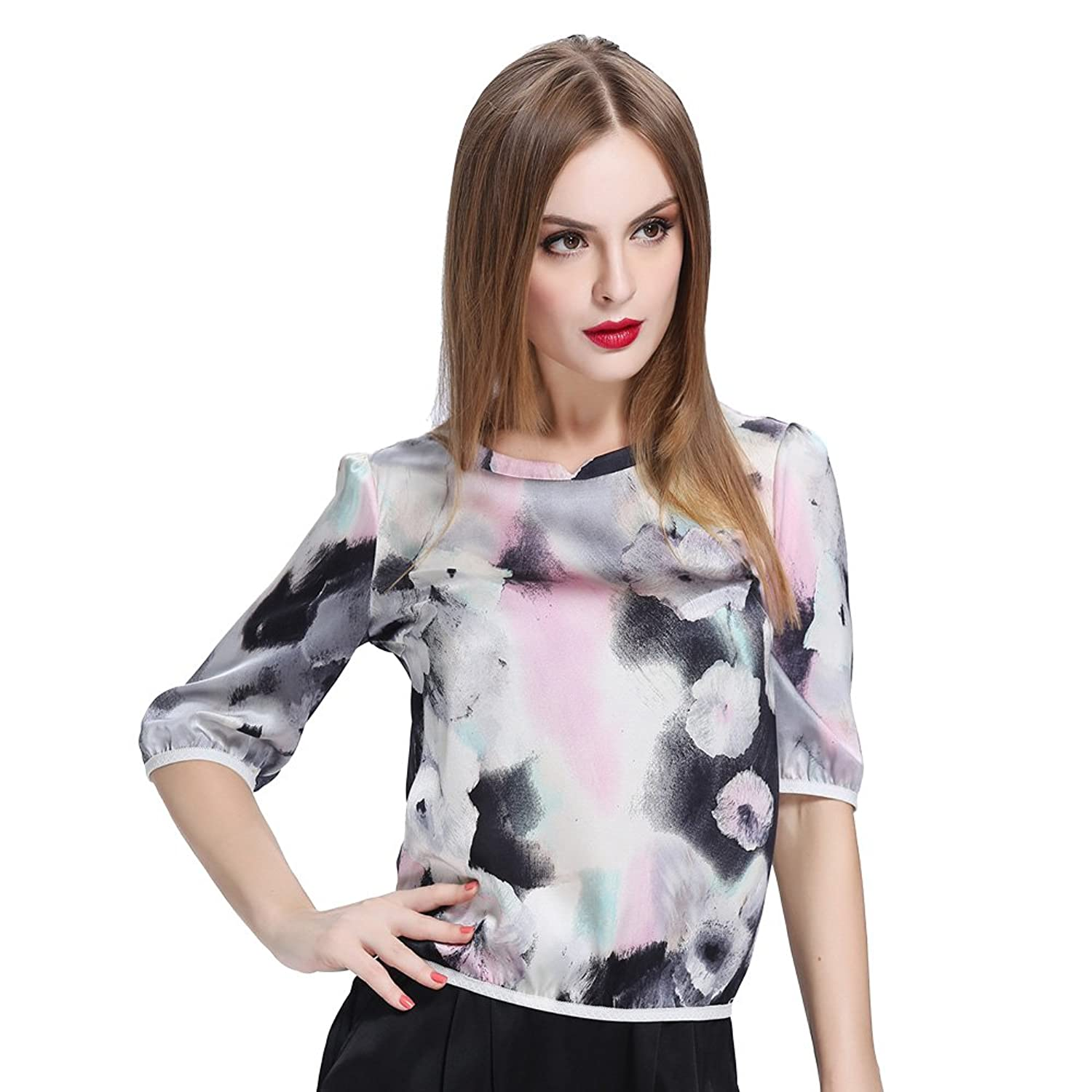 LILYSILK Women's Silk Blouse Half Sleeve Top 19 Momme Floral Ink Painting