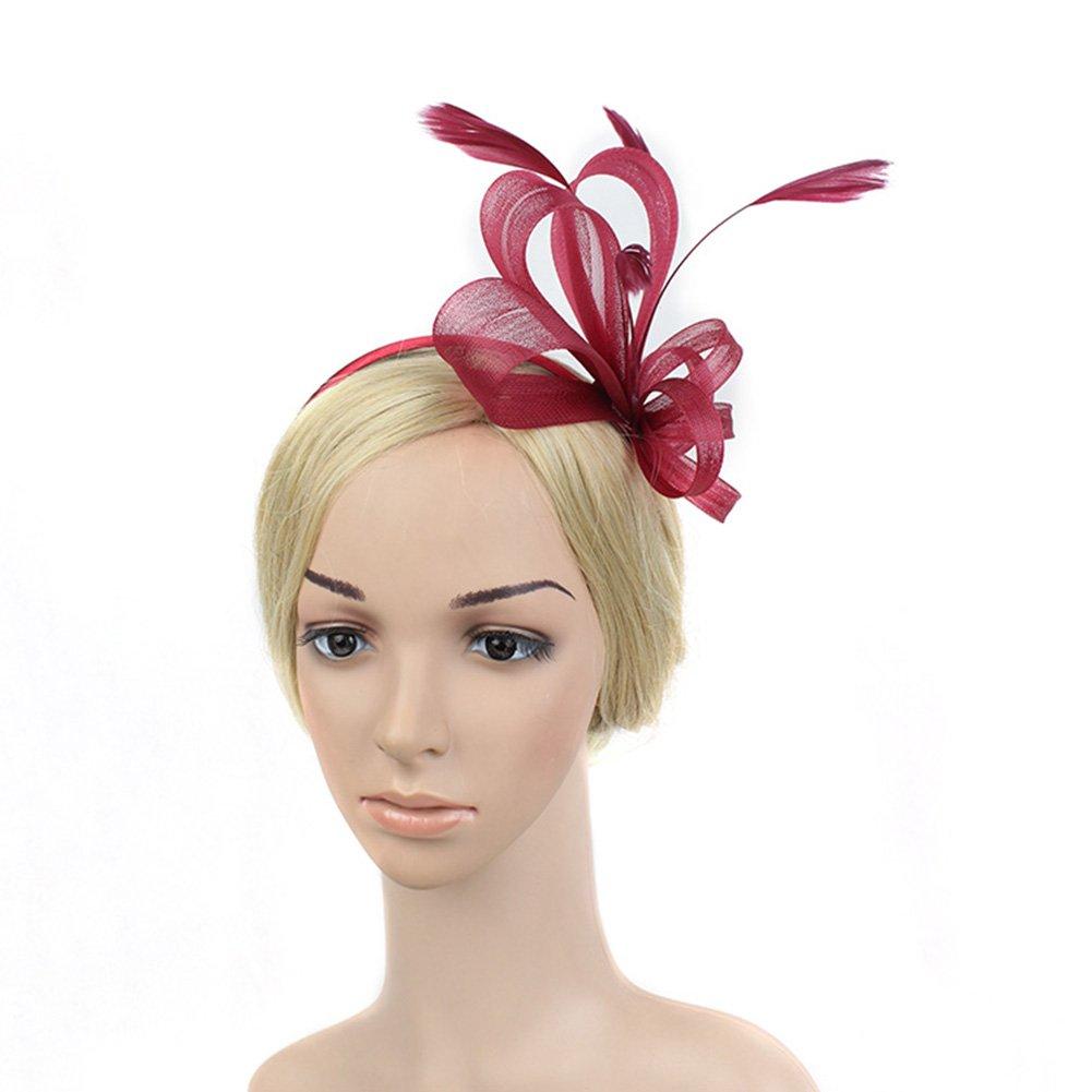 BAOBAO Women Net Bow Feather Fascinators Hair Clip Hat Wedding Cocktail Party Headpiece