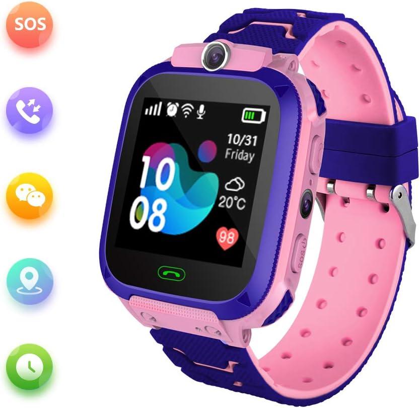 Reloj Inteligente para Niños con Posicionamiento LBS- SOS Anti-Lost Children's Smartwatch Phone Compatible para Android e iOS con Voice Chat Alarm Game Linterna para Niñas Regalos de Cumpleaños