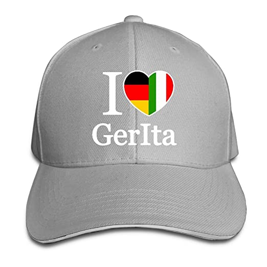 815f72d5516 Women s Men s I Love Germany and Italy Adult Adjustable Snapback Hats  Peaked Cap